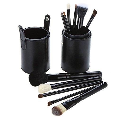MY LIFE Set of 12 pcs Professional Makeup Brush Kit w/ Leather Cup Holder Case kit (Black) H9488