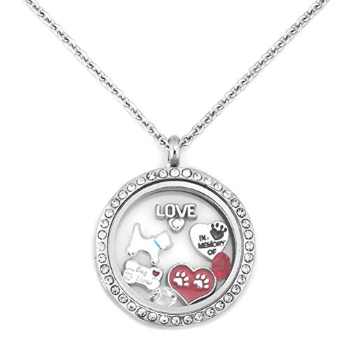 Cory Keyes Love Dogs Pet Memorial Floating Charms in Living Memory Glass Locket Necklace (Pet ()