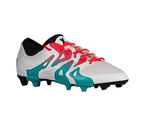 adidas Performance Women's X 15.2 FG/AG W Soccer Shoe,White/Shock Green/Black,5 M US by adidas