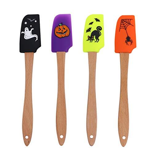 Hemoton 4pcs Halloween Wooden Handle Silicone Scraper Cream Spatula Baking Gadget Baking Supplies Kitchen Utensil for…