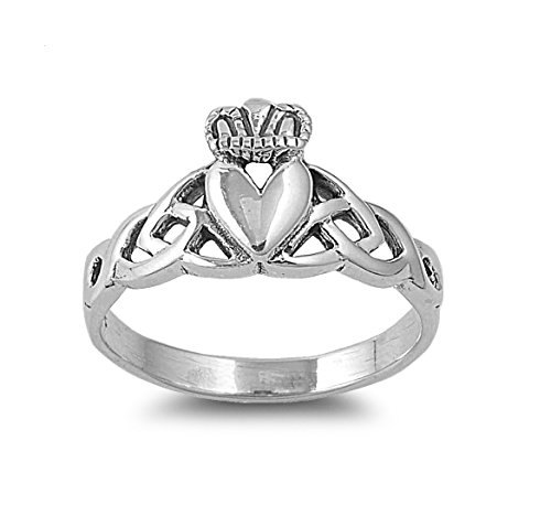 CloseoutWarehouse Sterling Silver Claddagh Triquetra Fusion Ring Size 8