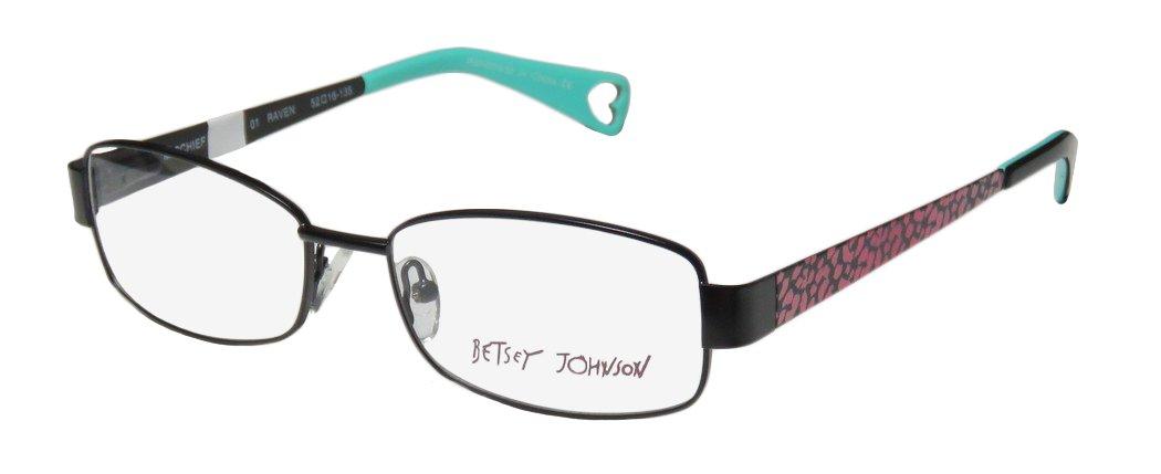 Betsey Johnson Mischief Womens/Ladies Designer Full-rim Spring Hinges Stunning Hip In Style Eyeglasses/Eyewear (52-16-135, Black/Pink Cheetah Print)
