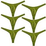 6PCS/Lot Men's Solid Thong Spandex Bikini T-Back Underwear Green XL