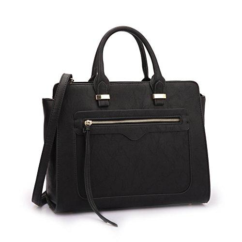 Dasein Women Vegan Leather Handbag Designer Purse Satchel Bag with Crossbody Strap