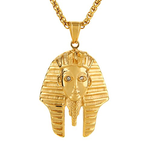 HZMAN 18K Gold Plated Egyptian Pharaoh King Stainless Steel CZ Pendant Necklace African Jewelry