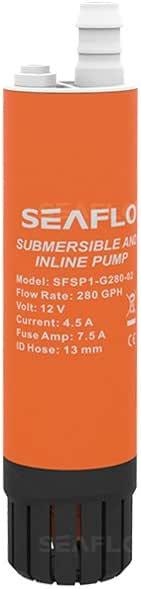 Seaflo 12V 280GPH Submersible Inline Pump Seawater//Diesel Transfer Pump