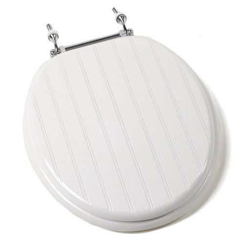 Comfort Seats C1B4R4-00CH Deluxe Molded Wood Toilet Seat with Chrome Hinges, Round, White Bead Board