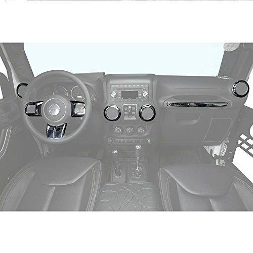 Silver Steering Wheel & Air Conditioning Vent & Copilot Handle Cover Trim Kit for 2011-2018 Jeep JK Wrangler & Unlimited ()
