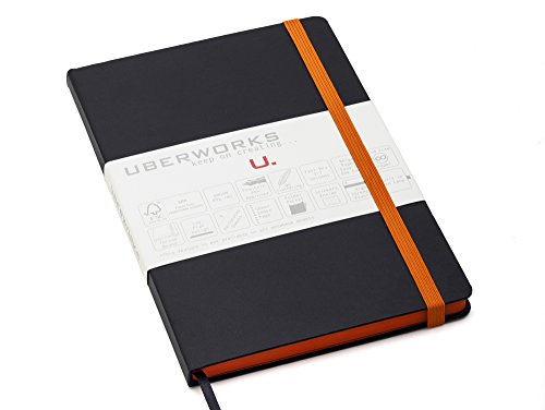 UberWorks PROTOTYPES Notebook/Bullet Journal with Durable Black Hardcover and Unique Matching Ocher Orange Elastic Closure & Paper Edge, A5, 192 Pages Plain/Clear 80gr. Paper, Index, Pocket & Labels (Orange Bullet)