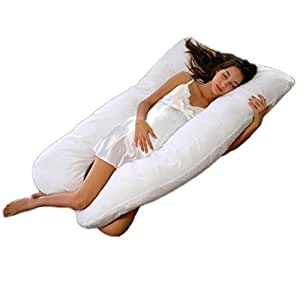 Cheer Collection Alternative Down Premium Pregnancy U Pillow with Zippered Cover