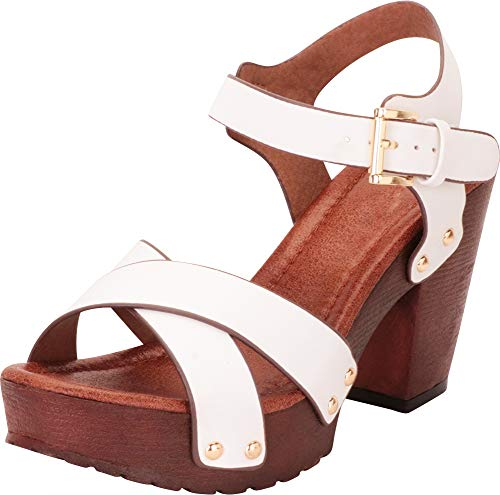 Cambridge Select Women's Retro 70s Studded Clog Crisscross Strappy Chunky Platform Block Heel Sandal,8 B(M) US,White PU