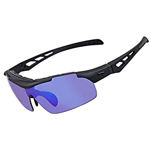 Polarized Sports Sunglasses For Men Women Cycling Glasses With 5 Interchangeable Lenes Running Driving Fishing Golf Baseball Outdoor Sports (black 01, 5 Lens)