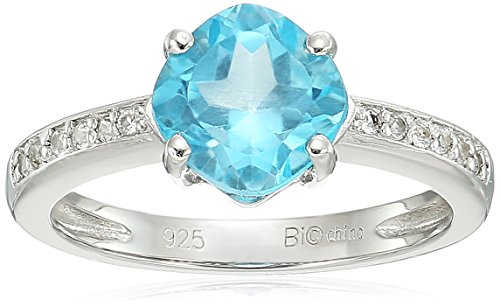 Sterling Silver Blue Topaz and White Topaz Ring, Size 5