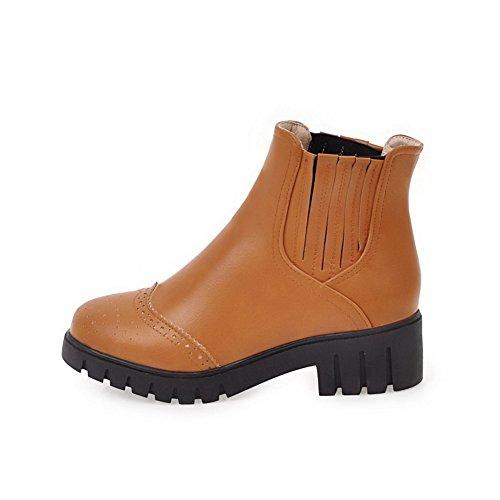 AllhqFashion Damen PU Leder Hoher Absatz Rund Zehe Ziehen auf Stiefel, Aprikosen Farbe-Anhänger, 34