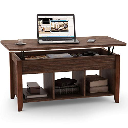 Tribesigns Lift Top Coffee Table with Hidden Storage Compartment and Lower Shelf for Living Room, Solid Wood Legs (Brown)