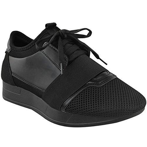 chaussures plates lacet BANDE DAMES mode Taille RUNNER maille Baskets FEMMES Bali extensible FILLES nOBqwBfT