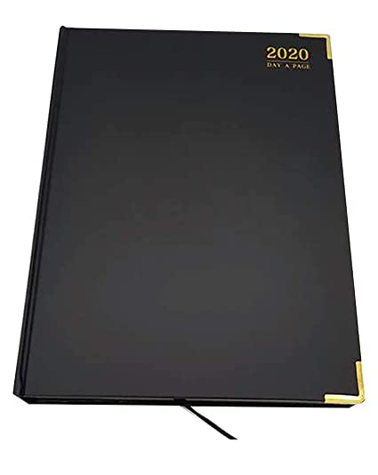 Professional 2020 A4 Diary Page A Day Planner Work PU Leather Cover Black /& Gold