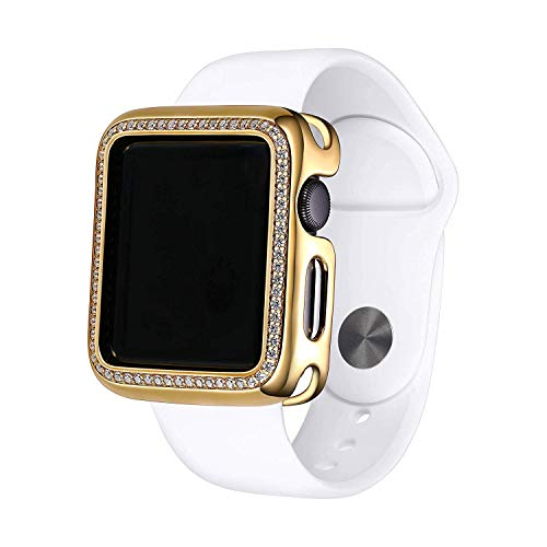 18K Yellow Gold Plated Jewelry-Style Apple Watch Case with Swarovski Zirconia CZ Border - Small (Fits 38mm iWatch)