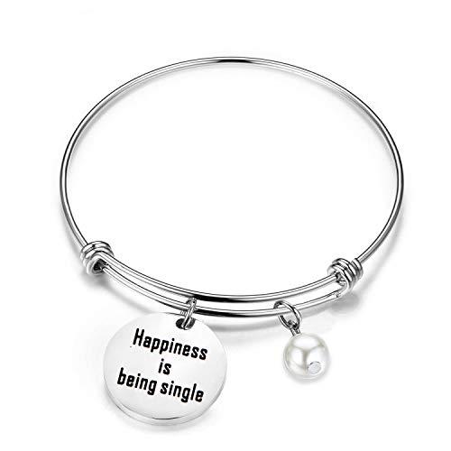 CHOROY Single Ladies Gift Happiness is Being Single Bracelet Breakup Gift Divorced Woman Jewelry (Being Single Bracelet) (Christmas Gifts Shitty)