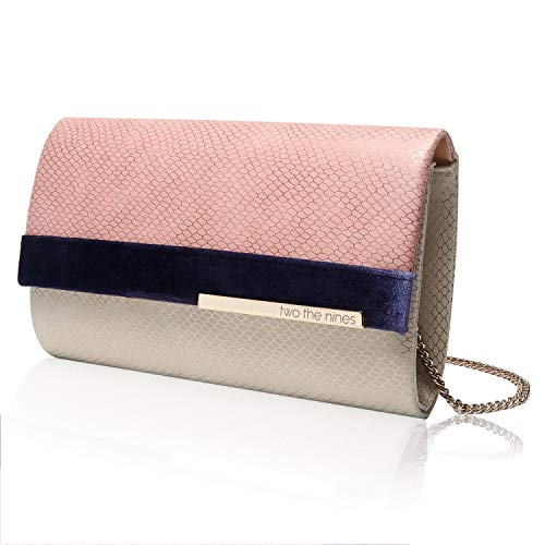 Handbag Snake Pink - two the nines Womens Evening Bags Snakeskin Pattern PU Leather Clutches with Removable Thin Chain for Cocktail Parties, Pink and Beige