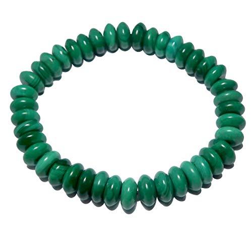 Malachite Bracelet 8x4mm Boutique Genuine Green Gemstone Crystal Healing Handmade Stretch Disc B04 (5.75