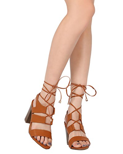 Alrisco Women Block Heel Sandal - Lace Up Ankle Wrap Heel - Gladiator Inspired Chunky Heel - HB34 by Elegant Collection Camel Leatherette eeNJ86PINR