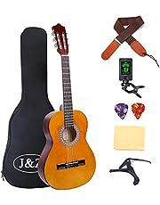 Classical Guitar Acoustic Guitar 3/4 Junior Size 36 inch Kids Guitar for Beginners 6 Nylon Strings Guitar Starter Kits with Waterproof Bag Guitar Clip Tuner Strap Capo Picks Wipe