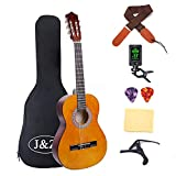 Classical Guitar Acoustic Guitar 3/4 Junior Size 36 inch Kids Guitar for Beginners 6 Nylon Strings Guitar Starter Kits with Waterproof Bag Guitar Clip Tuner Strap Capo Picks Wipe