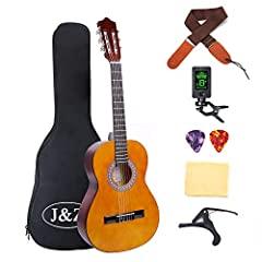 The J&Z classical guitar 3/4 size is made for beginners and at this price it is an ideal second guitar to take to festivals and on holiday.The overall quality of this package is high. It is a fantastic adult starter guitar or ideal for a...