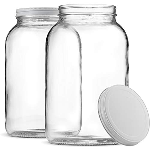 Paksh Novelty 1-Gallon Glass Jar Wide Mouth with Airtight Metal Lid - USDA Approved BPA-Free Dishwasher Safe Large Mason Jar for Fermenting, Kombucha, Kefir, Storing and Canning Uses, Clear (2 Pack) from Paksh Novelty