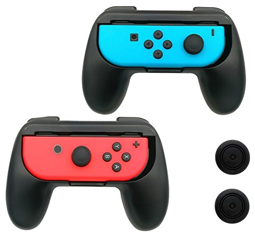 Nintendo Switch Joy-Con Grip Controller Kit with Thumbstick Caps 2-Pack, Wear-resistant Joy Con Handle Grips Accessory Kit for Nintendo Switch (Black)