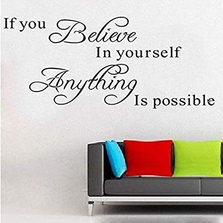 - Assyrian 1pc Muursticker Believe Anything Is Possible Inspirational Black Wall Stickers Home Decor Living - Wall Stickers