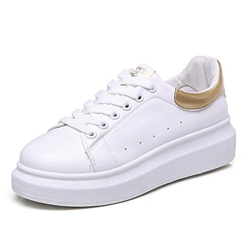 CYBLING Fashion Low Top White Platform Sneakers For Women Outdoor Casual Walking Shoes Gold 5xYAdv