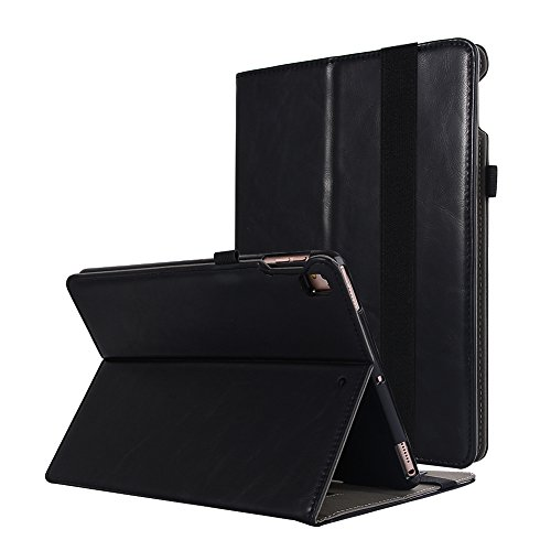 For New iPad 6th GenerationCase 2018/2017 9.7 inch Leather with Pencil Holder Hand Strap Folio Stand Cover Multi-Function Auto Sleep Wake Case for iPad 9.7 6th 5th Generation Air Air2 (Black) - Flip Face Watch