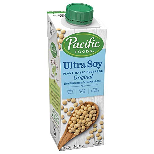 Pacific Foods Enriched Ultra-Soy Non-Dairy Beverage, Plain, 8-Ounce, (Pack of 24)