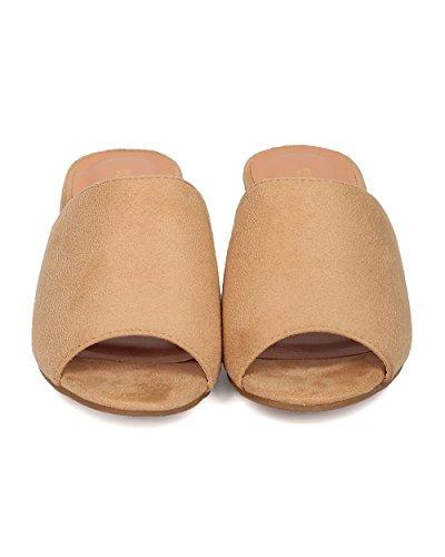 Indulge Women Chunky Heel Mule - Peep Toe Block Heel Slide - Open Toe Heel Sandal - Gladys-10 by Beige Faux Suede BKDoa6D