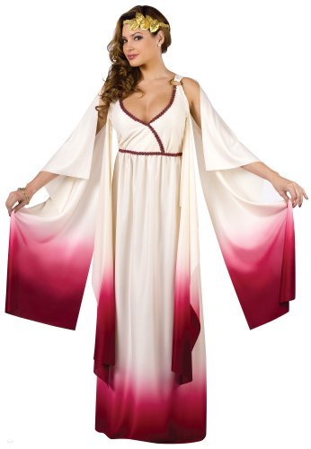 FunWorld Love Goddess, White/Gold, Medium/Large 10-14 (Goddess Of Love Costume For Halloween)