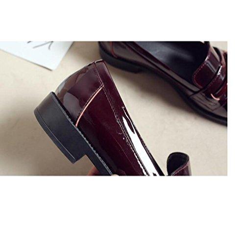 Retro Wind Lackleder Runden Mund Student Weibliche ZFNYY Flachen Schuhe Schuhe Flachen College wIxqBRS