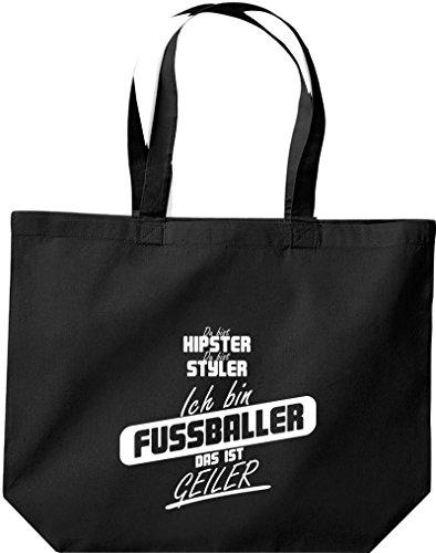 Shirtstown große Einkaufstasche, Shopper du bist hipster du bist styler ich bin Fussballer das ist geiler schwarz