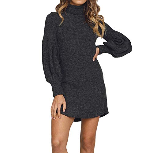 URIBAKE ❤️ Women's Knitted Mini Dress Turtle Solid Ladies's Elegant Pullover Sweater Tops Blouse -