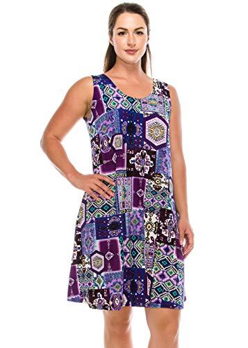 (Jostar Women's Stretchy Missy Tank Dress Print Plus 2XL Purple)