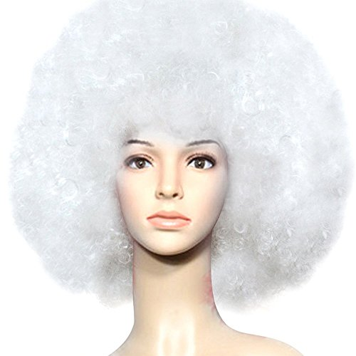 Adult Afro Wigs Oversize Cosplay Dance Party for Women's Short Wig White - White Afro Wig