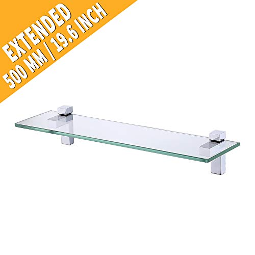 KES Tempered Glass Shelf, Bathroom Shelf with 19.6 Inch Rectangular Glass (8mm Thick) Extended Wall Mount, Polished Chrome, ()