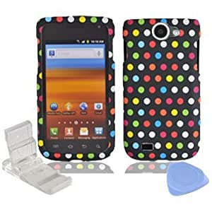 Quaroth Rainbow Blue Red White Yellow Green Orange Pink Dot Design Rubberized Snap on Hard Plastic Cover Faceplate Case...