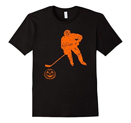 Mens Hockey Halloween Pumpkin Funny T Shirt Large Black