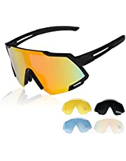 GARDOM Gafas de Ciclismo Hombres Mujeres, Gafas de Sol Deportivas con 5 Lentes Intercambiable para Correr Pescar Escalar Esquiar Vacaciones