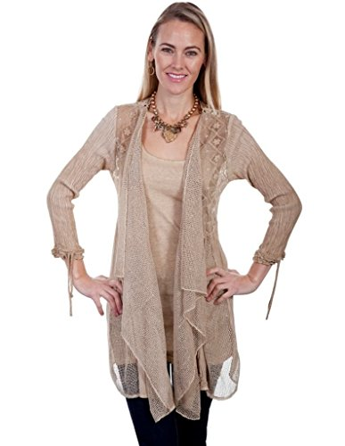 Scully Western Sweater Womens 3/4 Sleeve Cardigan Lace L Sand HC314