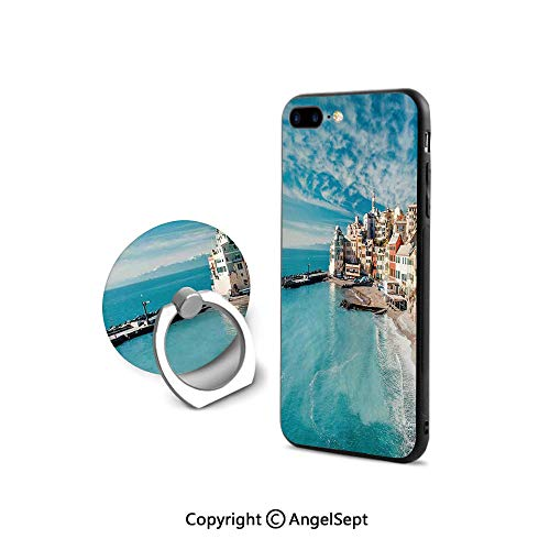 (Protector for iPhone 7/8 with 360°Degree Swivel Ring,Panorama of Old Italian Fish Village Beach Old Province Coastal Charm Image,Cushion Protective Cute Case,Turquoise)