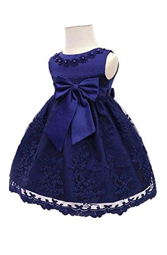 H.X Baby Girl's Newborn Bowknot Gauze Christening Baptism Dress Infant Flower Girls Wedding Dresses 8 Color (18M/13-18 Months, Dark Blue) -