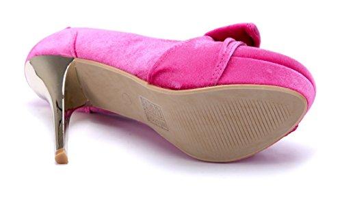 Schuhtempel24 Damen Schuhe Plateau Pumps 12 cm High Heels Rosa